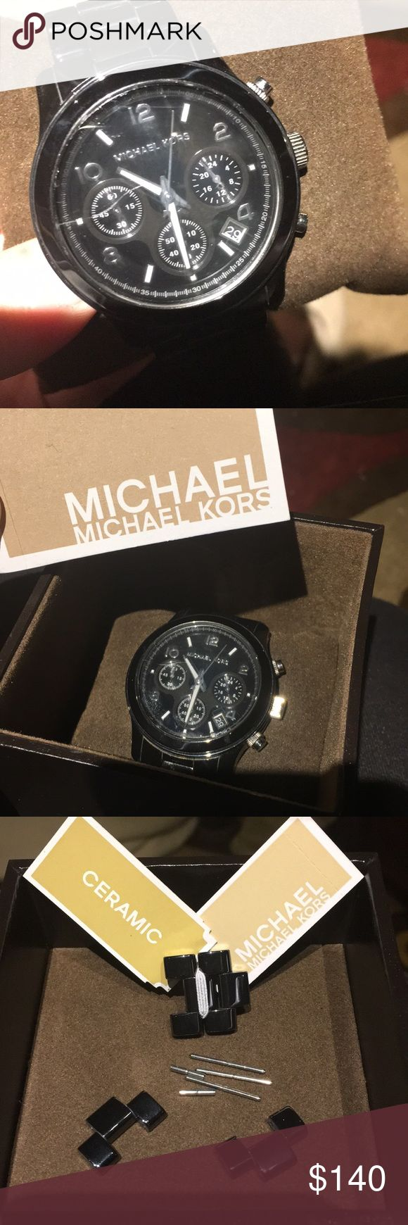 Michael Kors Watch Black Michael Kors watch. Does have scratch on face.  Extra links and screws included. Original box and pillow included, as well as instructions book. Michael Kors Jewelry