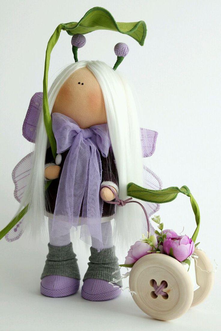 Купить Однажды на сказочной полянке... - бабочка, кукла в подарок, интерьерная кукла, текстильная кукла