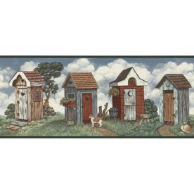 Allen Roth 10 1 4 Quot Multicolor Outhouse Prepasted Wallpaper