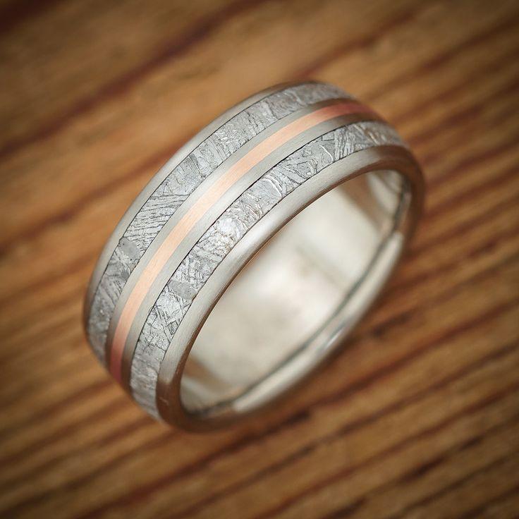 Titanium Meteorite Rose Gold Pinstripe Wedding Band From