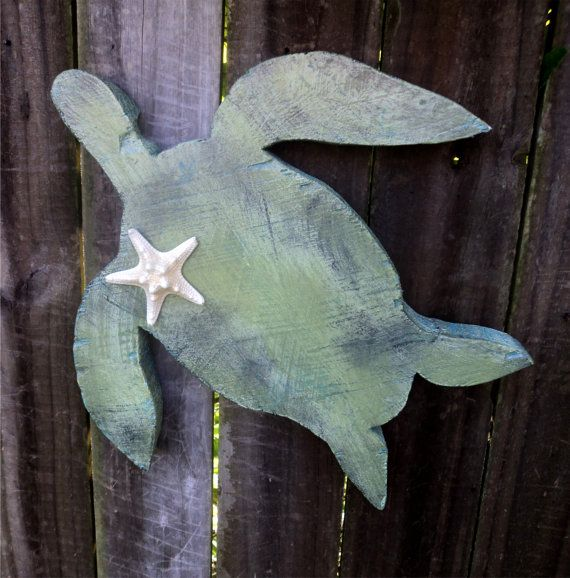 Chunky Wooden Sea Turtle, Beachy Cottage Decor