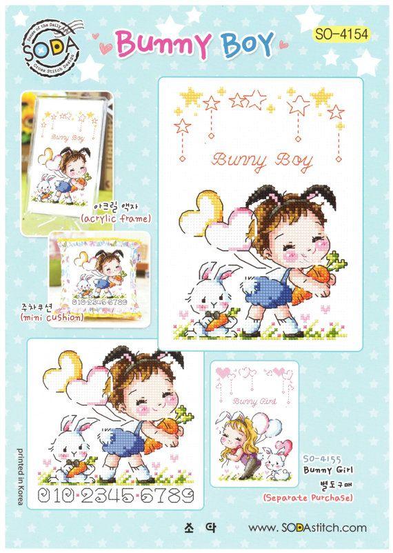Conejo chico así-4154 - punto de cruz patrón folleto SODA puntada - moderno Cruz tabla de puntadas - Kawaii Bunny