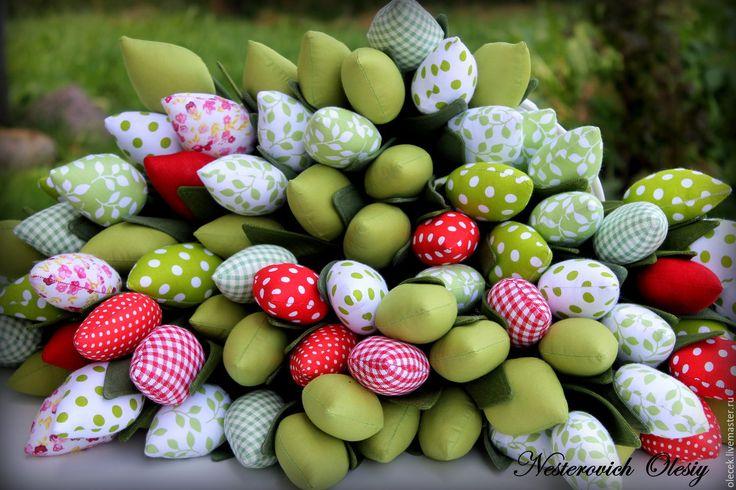 Купить Тюльпаны текстильные. - ярко-зелёный, тюльпаны, цветы, тюльпаны тильда, тильда, тюльпаны интерьерные