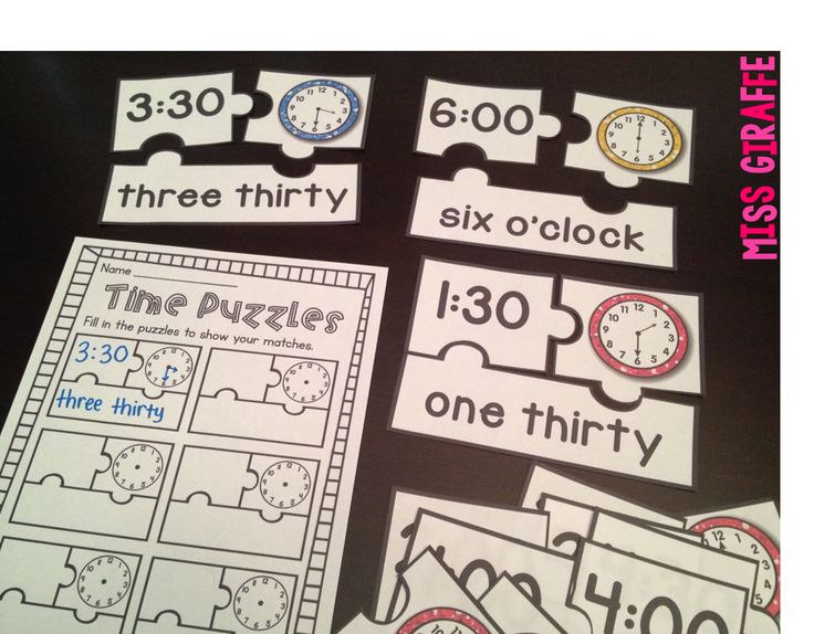 Telling Time Puzzles for telling time to the hour and half-hour