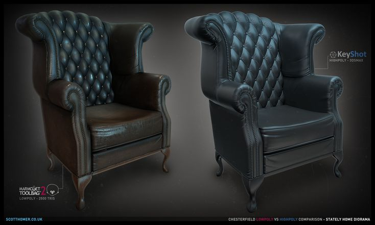 ArtStation - Chesterfield Sofa [Lowpoly], Scott Homer