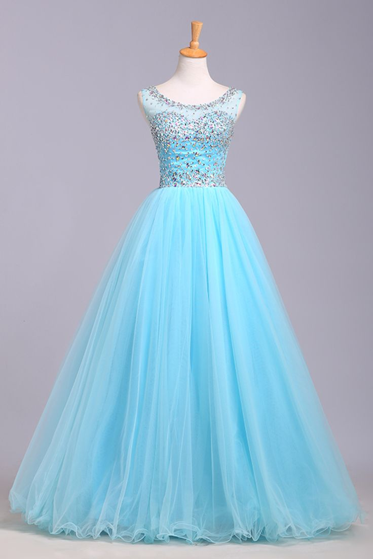 Light Blue Prom Dresses,Tulle Prom Dress,Modest Prom Gown,Silver BeadedProm Gown,Princess Evening Dress,Ball Gown Evening Gowns,Beaded Party Gowns,2016 Evening Gown