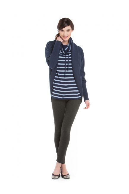 Cardi ouvert French Terry + chandail à rayures + Leggings en Ponte / French Terry Open Cardi on Funnel Neck Sweater with Ponte Leggings