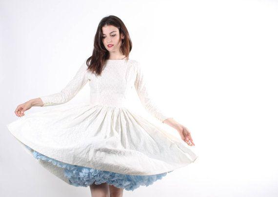 1950s White Cotton Wedding Dress  50s White Wedding by aiseirigh
