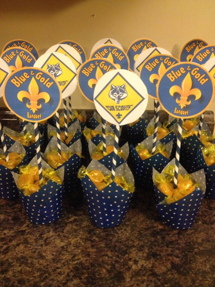Blue and Gold Banquet Centerpieces could work just would need to be ptk key and such
