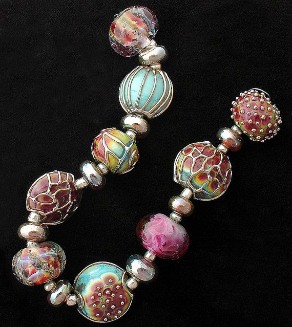 dsg beads handmade organic lampwork glass made to order winter roses