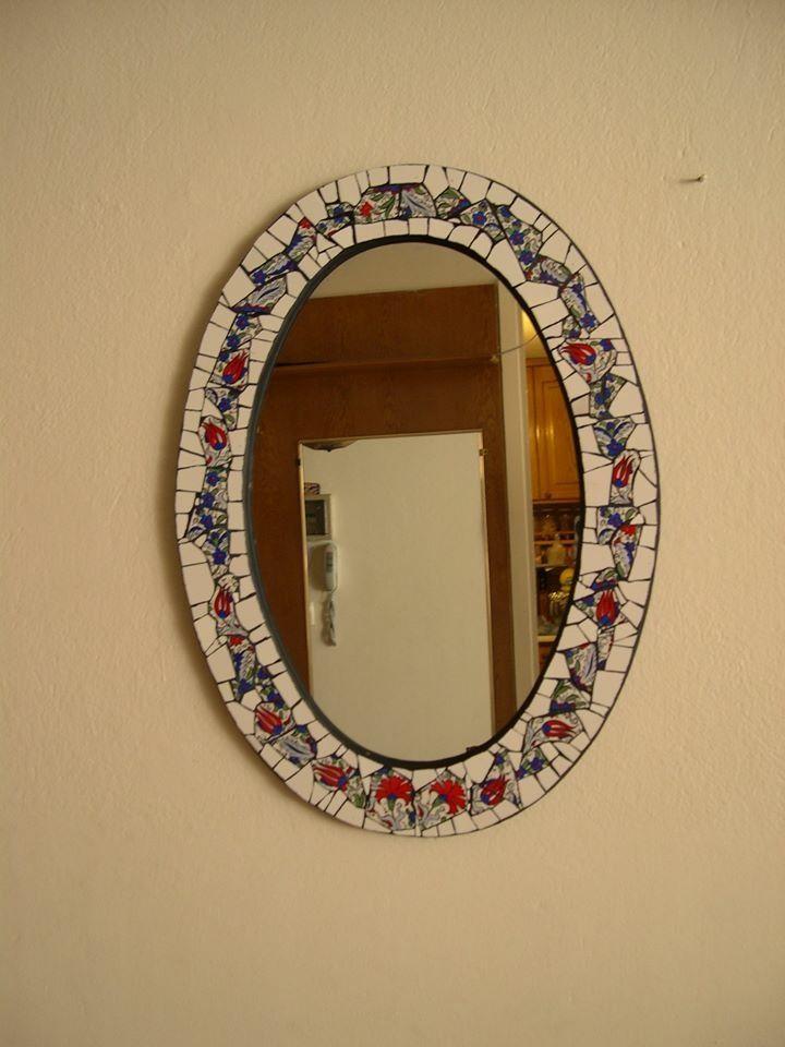 Çini ve seramikten ayna mozaik çalışmam.