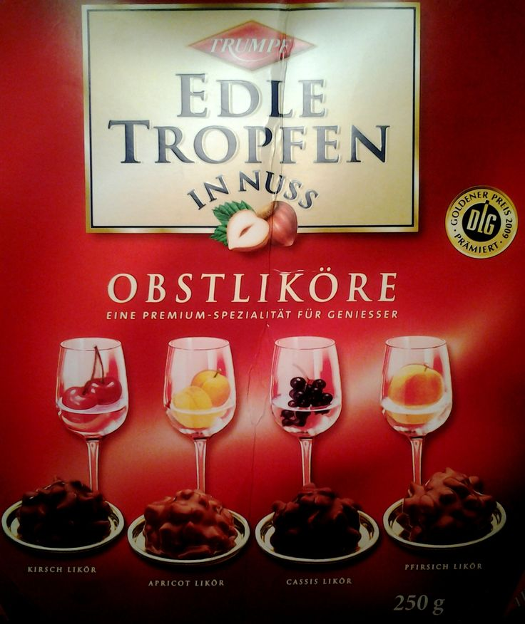 Trumpf Edle Tropfen in nuss Obstlikore chocolate assortment box. (Hazelnut and Fruit Liqueur filled chocolates)