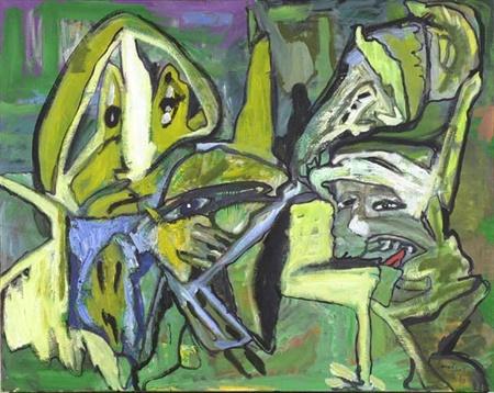 Lucebert Kleurenfamilie: Dit werk bestaat vooral uit groentinten. Er is een eenheid aan kleur.