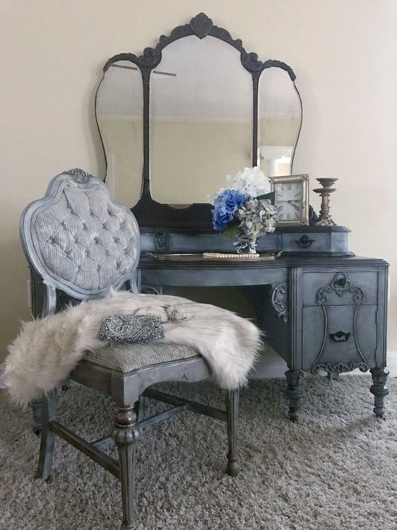 Updating antique furniture with chalk paint adds visual interest and some additional character to the piece.
