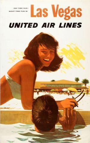 Las Vegas United Air Lines Stan Galli 1960s - original vintage poster by Stan Galli listed on AntikBar.co.uk