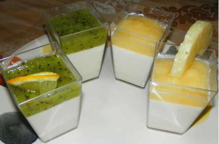 panna cotta cu ananas si kiwi...un desert racoros si usor.