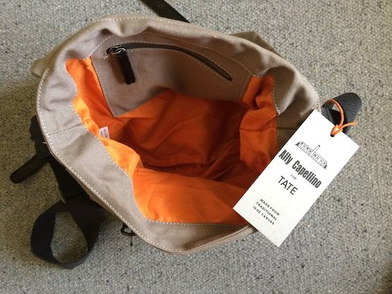 Ally Capellino for Tate satchel - grey canvas with black leather straps and a bright orange lining. Much liked by our reviewer - http://www.workfromhomewisdom.com/product-reviews/laptop-bag-reviews/ally-capellino-for-tate-satchel/