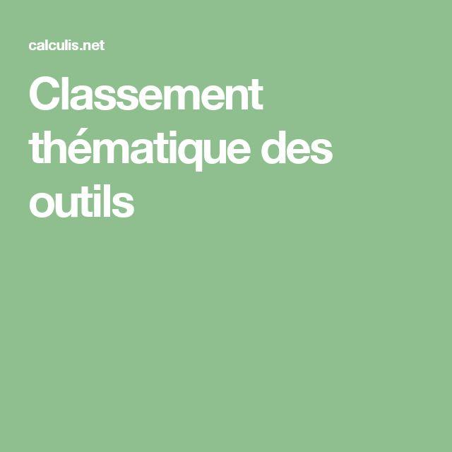 Classement thématique des outils