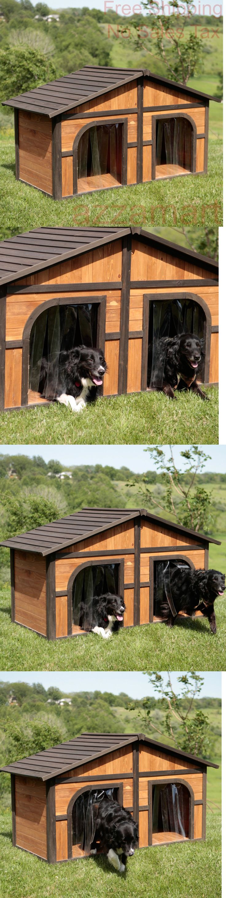 Dog Houses 108884: Double Dog House Extra Large Wood Duplex Outdoor Pet Shelter Cage Kennel Xl New BUY IT NOW ONLY: $387.63