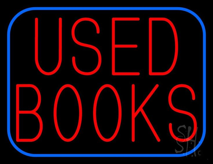 Used Books With Blue Border Neon Sign 24 Tall x 31 Wide x 3 Deep, is 100% Handcrafted with Real Glass Tube Neon Sign. !!! Made in USA !!!  Colors on the sign are Red and Blue. Used Books With Blue Border Neon Sign is high impact, eye catching, real glass tube neon sign. This characteristic glow can attract customers like nothing else, virtually burning your identity into the minds of potential and future customers.