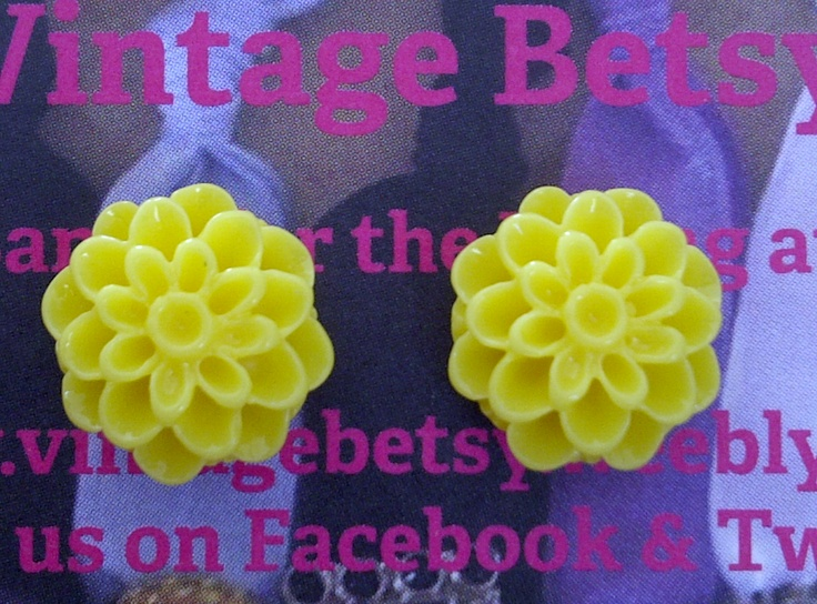 Yellow Dahlia earrings by Vintage Betsy