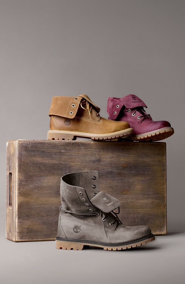 Waterproof leather Timberland boots. I like the grey one!