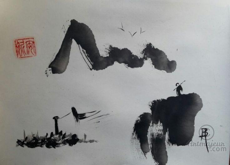 L'Autre rive (Peinture sumi-e ),  par Anne Bonningue Pièce unique à l'encre de chine traditionnelle sur papier de riz Wenzhou Maroufler sur du papier 300g