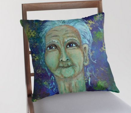 Auntie Ebb decorative pillow ~ http://www.redbubble.com/people/elizafayle/works/13682796-auntie-ebb?p=throw-pillow  #woman #old #elderly #wise #crone