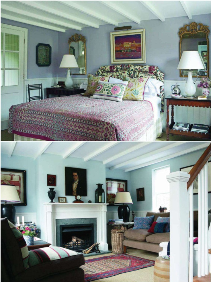 Love the colorful takes on beamed rooms