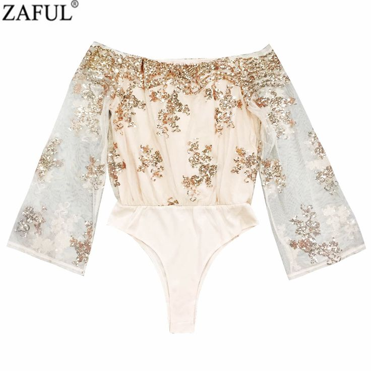 Cheap romper playsuit, Buy Quality jumpsuit pant directly from China jumpsuit denim Suppliers: ZAFUL Women Jumpsuits Flare Sleeve Off The Shoulder Sequined Bodysuits Gold Sequin Leotard Bodysuits Embroidery Jumpsuit Rompers