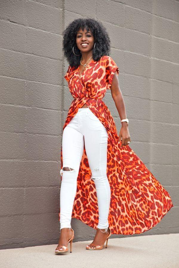 Leopard Print Wrap Dress + Distressed White Jeans - Street Fashion