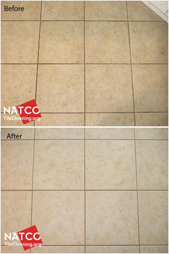 Close up look before and after of colorsealed grout with tan or brown grout lines.