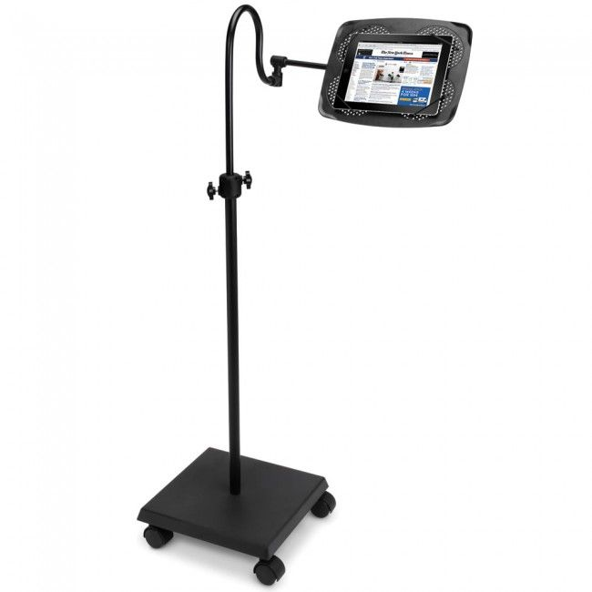 iPad Adjustable Floor Stand | Craziest Gadgets The iPad is undoubtedly the greatest invention mankind has ever known (FACT) but wouldn't it be better if you didn't have to hold it? Well wheel it on over with the iPad Adjustable Floor Stand.. This stand tilts, swivels, telescopes and adjusts to hold your iPad in any position that is most comfortable for you whether you're sitting, standing, lying down, or even suspended upside down like a bat.