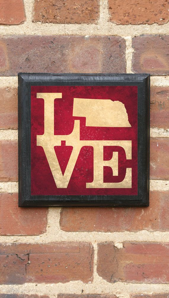 Nebraska LOVE Vintage Style Plaque/Sign Decorative & by CrestField, $32.00