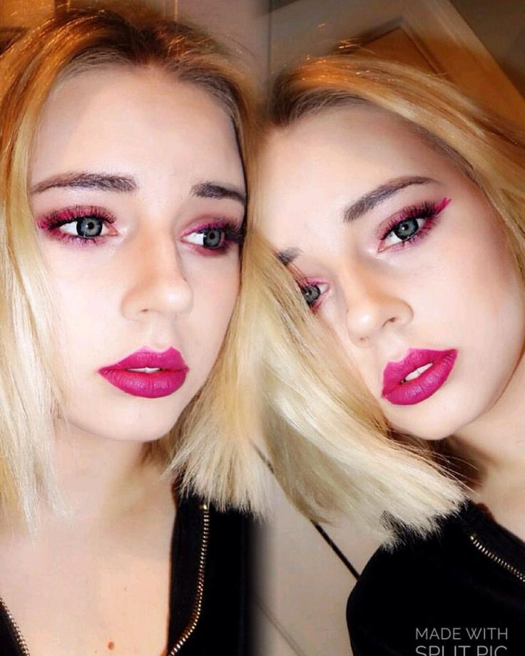 #lipstick #pink #boldlips #colourpop #eyeliner #brown #makeup #blonde #polishgirl #selca #circlelens