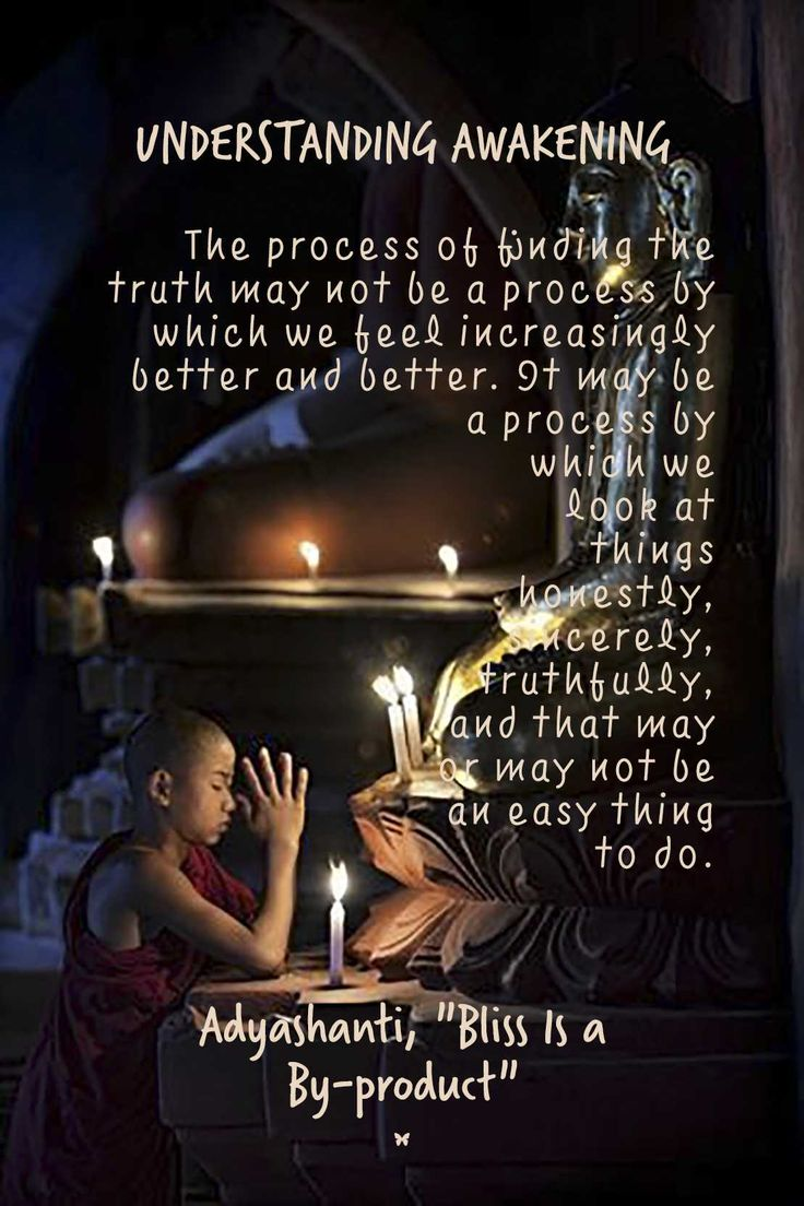 """UNDERSTANDING AWAKENING The process of finding the truth may not be a process by which we feel increasingly better and better. It may be a process by which we look at things honestly, sincerely, truthfully, and that may or may not be an easy thing to do. Adyashanti, """"Bliss Is a By-product"""""""