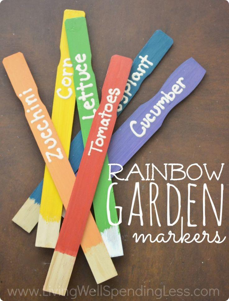 DIY Rainbow Garden Markers - Living Well Spending Less™