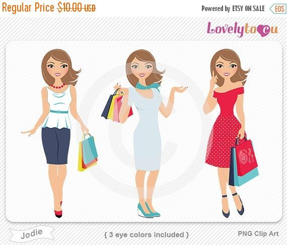 SALE Woman shopping full body portrait clip art, set of 3, digital PNG clipart (Jodie R06) by Lovelytocu on Etsy https://www.etsy.com/uk/listing/238024470/sale-woman-shopping-full-body-portrait