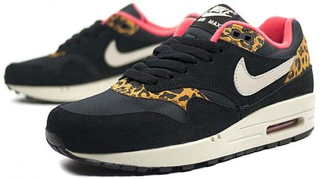nike air max 1 herre leopard pack sorte guld / rød hvide løbesko billig salg