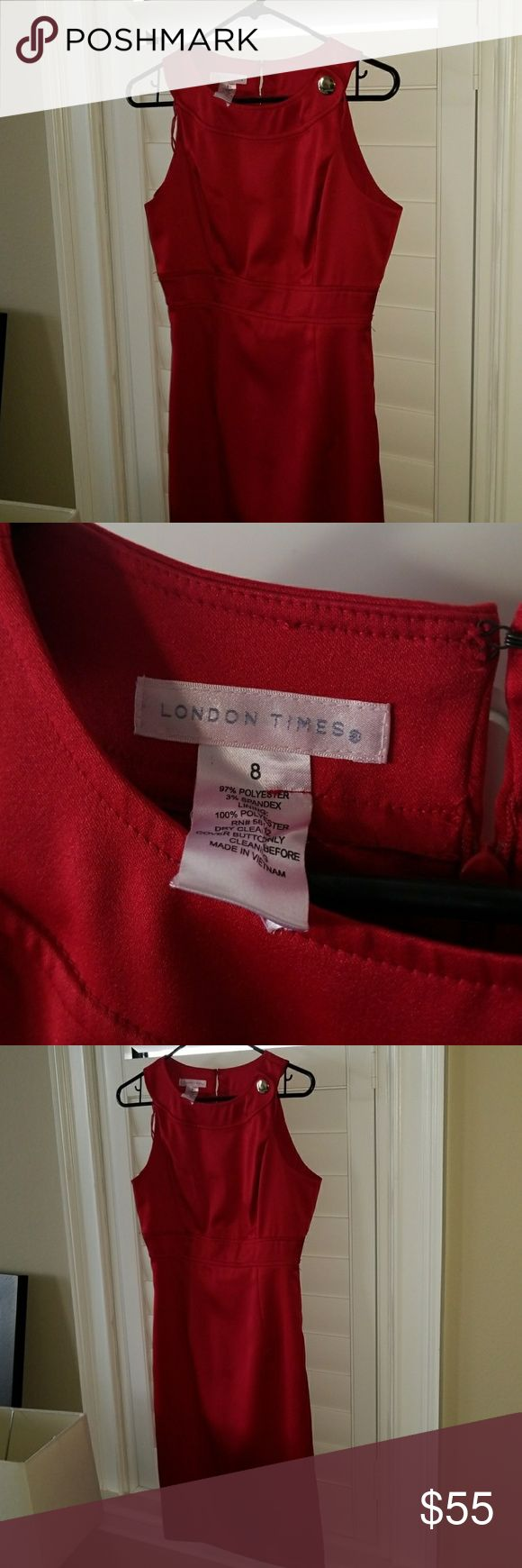 SALE!!!!!  London times red formal dress sz 8 Showstopper red London times dress. Wore it one time to a sorority event. Its flawless. Red looks good on all do in tones, definitely a must for an event. London Times Dresses Midi