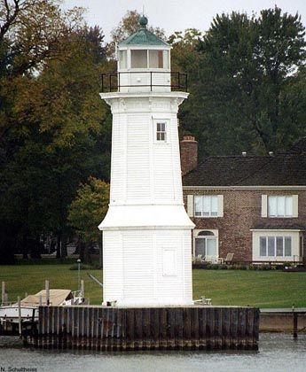 Grosse Ile North Channel Front Range Lighthouse: The structure is in good condition considering it was built in 1906. It stands 40 feet tall and was deactivated in 1963. Grosse Ile, Michigan.
