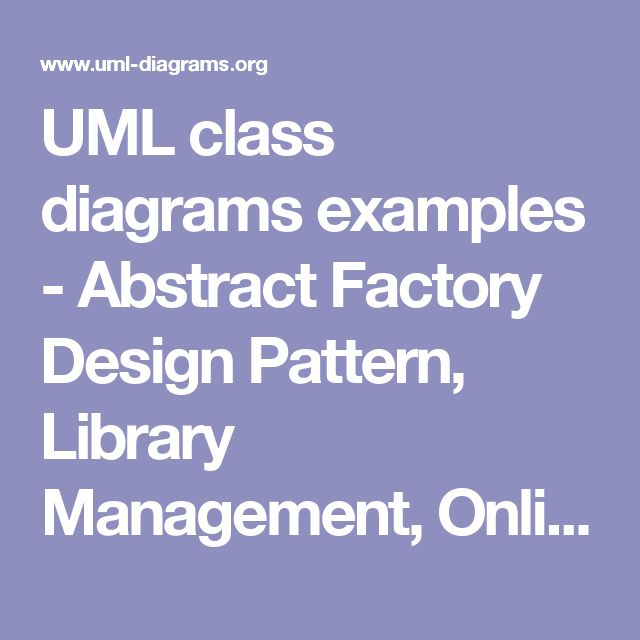 UML class diagrams examples - Abstract Factory Design Pattern, Library Management, Online Shopping, Hospital, Digital Imaging in Medicine, Android.