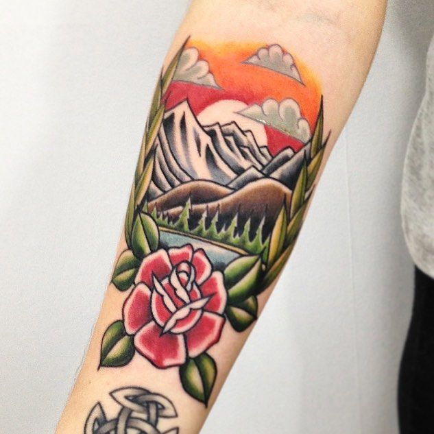 Traditional tattoo forest
