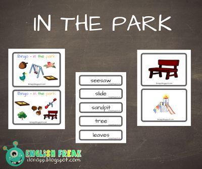 English Freak   Blog o nauczaniu języków obcych: IN THE PARK - FLASHCARDS, WORD CARDS AND BINGO ( P...