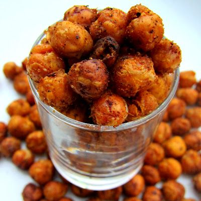 Roasted & TOASTED Garbanzo ... Loved these ... make sure to dry chickpeas really well --- after straining them, place them on paper towels for a couple hours --- before using them in this recipe...