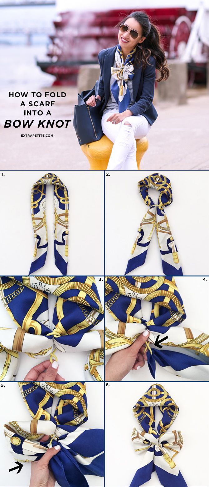 Scarf tutorial - how to tie square or rectangular silky scarves into a bow knot!                                                                                                                                                                                 More