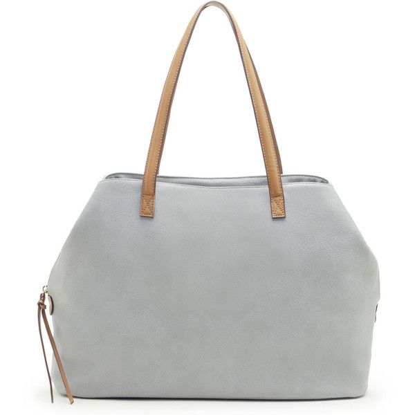 Sole Society Miller Oversize Tote ($70) ❤ liked on Polyvore featuring bags, handbags, tote bags, grey, grey purse, vegan purses, vegan leather tote bag, oversized tote bags and grey handbags