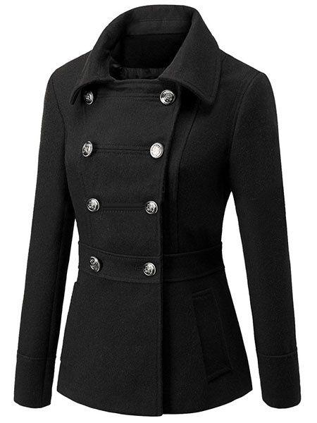 Women's Peacoat Turndown Collar Solid Color Short Winter Coats