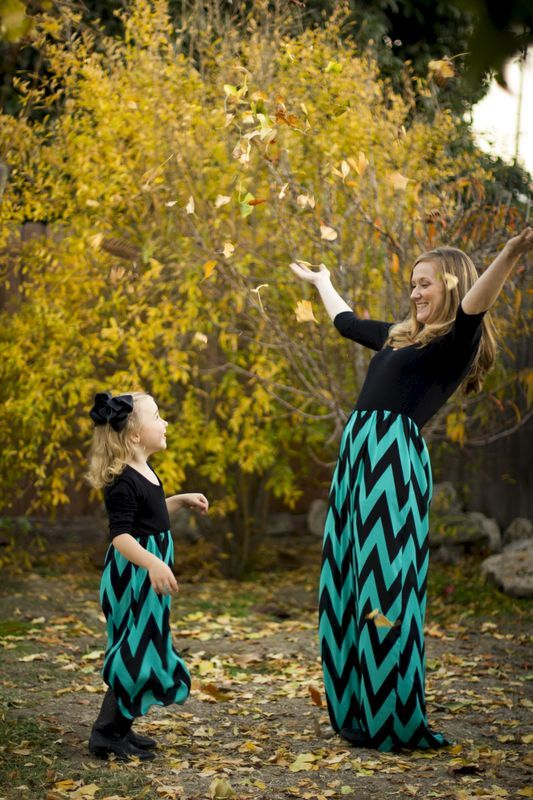 "Day Dream Maxi dress in Aqua, and Black - Love it ""Mommy and Me"" matching dresses!"