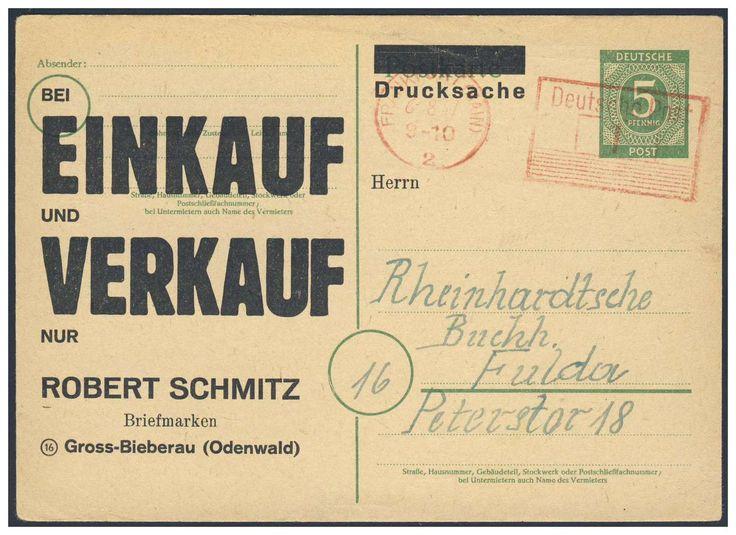 German Local Issue, Deutsche Lokalausgaben 1947, Frankfurt am Main, 1 Pfg.-Freistempel (rot) auf 5 Pfg.-Ziffern-GA-Postkarte, als Drucksache, vom Briefmarkenhandel Robert Schmitz/ Groß-Bieberau, nach Fulda gelaufen. Price Estimate (8/2016): 40 EUR.